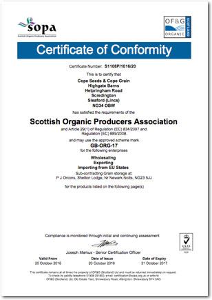Cope Seeds Organic Certificate 2017