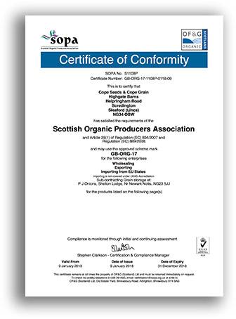 Cope Seeds Organic Certificate 2018