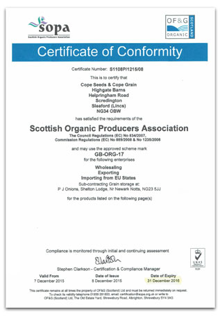Cope seeds organic certificate of conformity 2015 2016 for Certificate of conformance template word