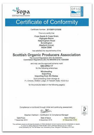 Cope Seeds Organic Certificate 2015/2016