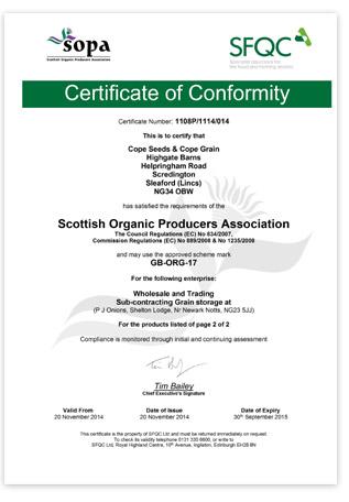 Cope Seeds Organic Certificate 2014/2015